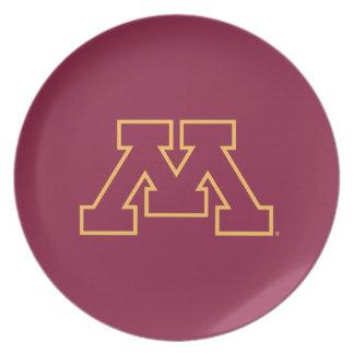 Minnesota Maroon M Dinner Plate