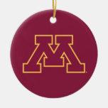 Minnesota Maroon M Double-Sided Ceramic Round Christmas Ornament