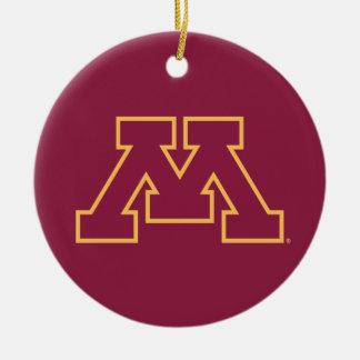Minnesota Maroon M Christmas Tree Ornament