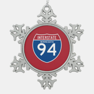 Minnesota MN I-94 Interstate Highway Shield - Snowflake Pewter Christmas Ornament
