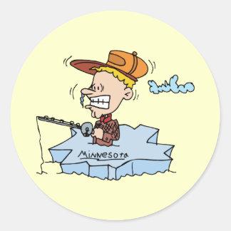 Minnesota MN Ice Fishing Vintage Travel Souvenir Classic Round Sticker