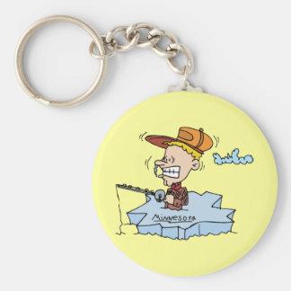 Minnesota MN Ice Fishing Vintage Travel Souvenir Keychain