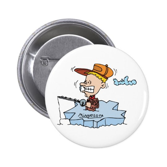Minnesota MN Ice Fishing Vintage Travel Souvenir Pinback Button
