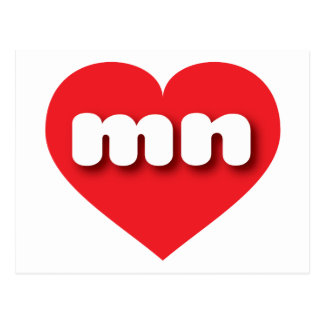 Minnesota mn red heart post cards
