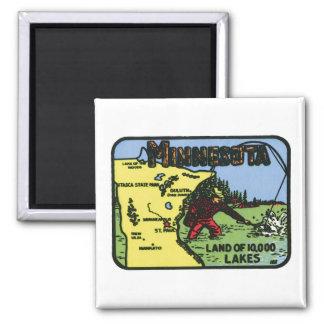 Minnesota MN Vintage Label 2 Inch Square Magnet
