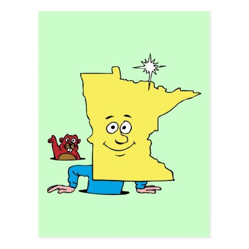 Minnesota MN Vintage Travel Souvenir Caricature Post Card
