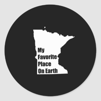 Minnesota My Favorite Place On Earth Classic Round Sticker