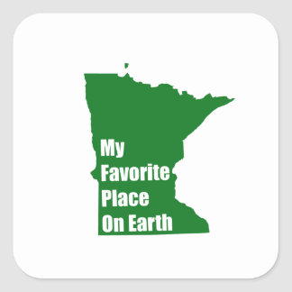 Minnesota My Favorite Place On Earth Square Sticker