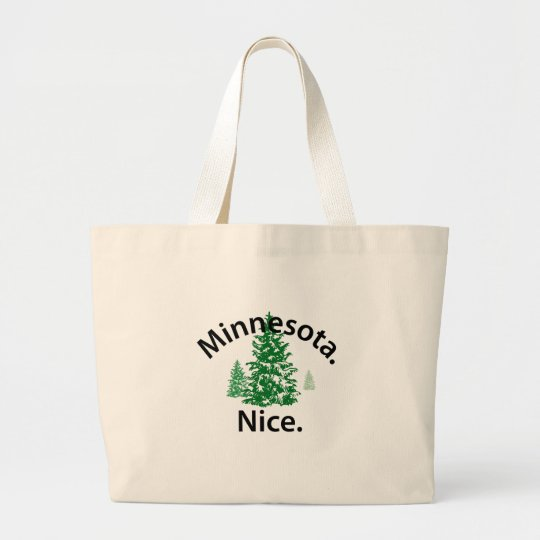 Minnesota Nice.  Period! (black text) Large Tote Bag