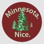 Minnesota Niza.  ¡Período! Pegatina Redonda