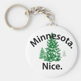 Minnesota Niza.  ¡Período! (texto negro) Llavero Redondo Tipo Pin