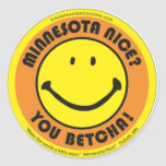 Minnesota Niza usted pegatinas de Betcha Etiquetas Redondas