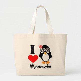 Minnesota Penguin - I Love Minnesota Bags