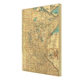 Minnesota road map canvas print