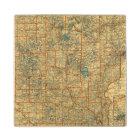 Minnesota road map wooden coaster