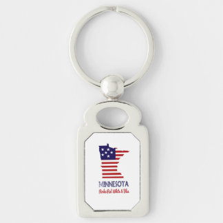 Minnesota Rocks Red White & Blue Key-Chain Keychain