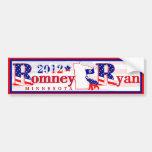 Minnesota Romney and Ryan 2012 Bumper Sticker 3 Car Bumper Sticker