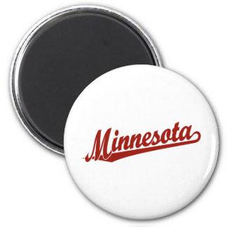 Minnesota script logo in red 2 inch round magnet