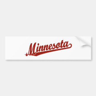 Minnesota script logo in red bumper sticker