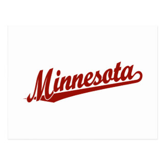 Minnesota script logo in red postcard
