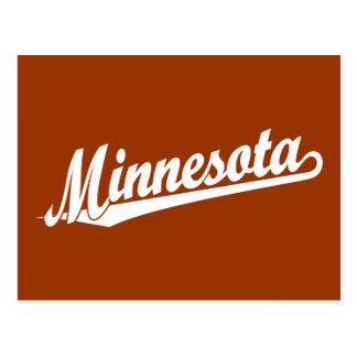 Minnesota script logo in white postcard