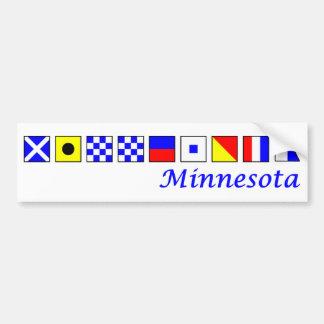 Minnesota spelled in nautical flag alphabet bumper sticker