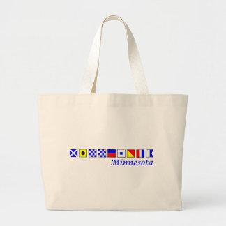 Minnesota spelled in nautical flag alphabet large tote bag