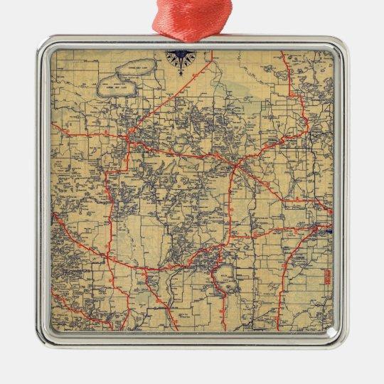 Minnesota standard map metal ornament
