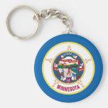 Minnesota State Flag Basic Round Button Keychain