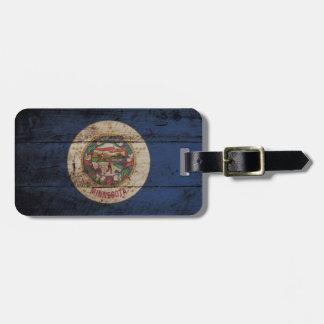 Minnesota State Flag on Old Wood Grain Bag Tag