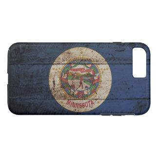 Minnesota State Flag on Old Wood Grain iPhone 8 Plus/7 Plus Case