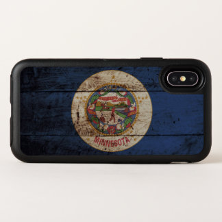 Minnesota State Flag on Old Wood Grain OtterBox Symmetry iPhone X Case