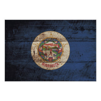 Minnesota State Flag on Old Wood Grain Photo Print