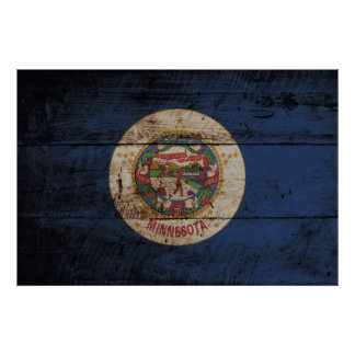 Minnesota State Flag on Old Wood Grain Poster