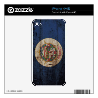 Minnesota State Flag on Old Wood Grain Skins For iPhone 4S