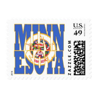Minnesota  state flag text postage