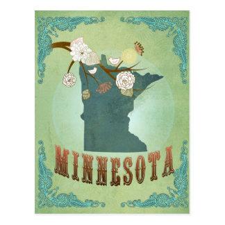 Minnesota State Map – Green Postcard