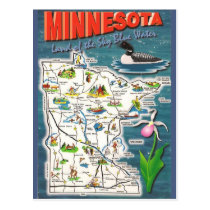 Minnesota State  Map Postcard