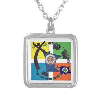 MINNESOTA STATE MOTTO GEOCACHER SILVER PLATED NECKLACE