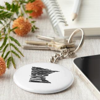 Minnesota State Name Word Art Black Keychain