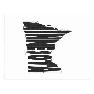 Minnesota State Name Word Art Black Postcard