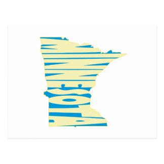 Minnesota State Name Word Art Yellow Postcard
