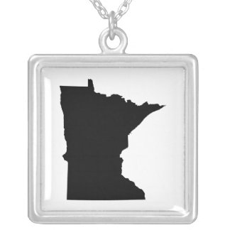 Minnesota State Outline Silver Plated Necklace