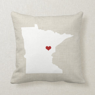 Minnesota State Pillow Faux Linen Personalized