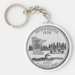 Minnesota State Quarter Basic Round Button Keychain