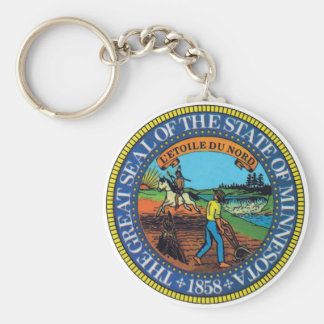 Minnesota State Seal Basic Round Button Keychain