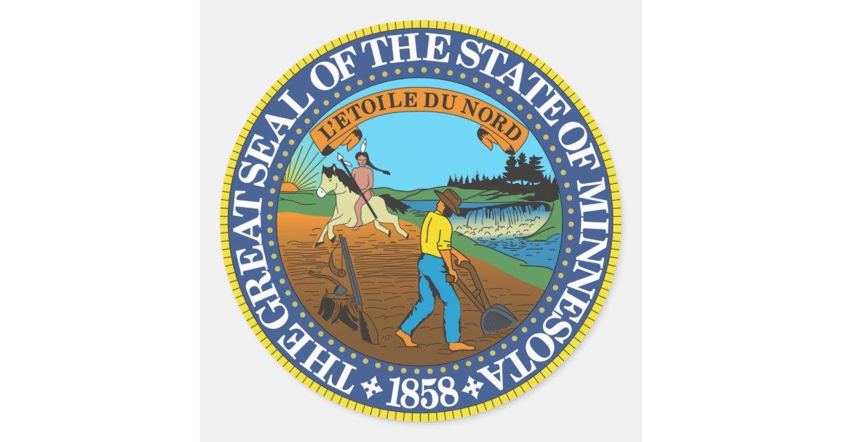 minnesota state seal sticker zazzlecom