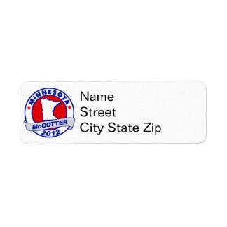 Minnesota Thad McCotter Return Address Label