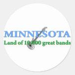 Minnesota - tierra de 10.000 bandas pegatina redonda