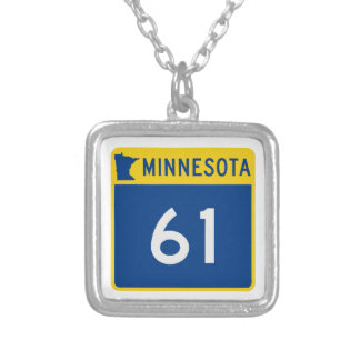 Minnesota Trunk Highway 61 Silver Plated Necklace
